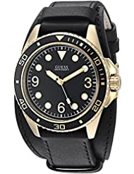 GUESS Mens Stainless Steel Casual Leather Cuff Watch, Color: Gold-Tone/Black (Model: U1052G3)