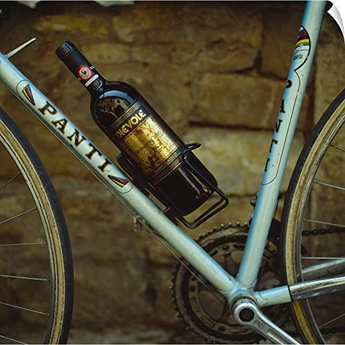 CANVAS ON DEMAND Italy, Tuscany, Sports Bicycle with Chianti Bottle in Bottle Holder Wall Peel Art Print, 16