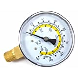 Forney 75554 Pressure Gauge with Bottom Mount, Air Line, 2-1/4-Inch Face, 1/4-Inch NPT, 0-160 PSI