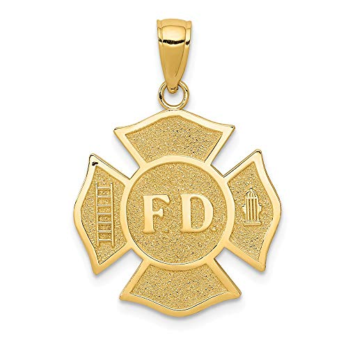14k Yellow Gold Fire Department Badge Pendant Charm Necklace Career Professional Firefighter Man Fine Jewelry Gift For Dad Mens For Him