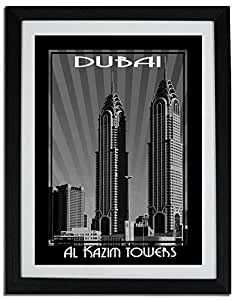 Al Kazim Tower Black And White F06-m (a2) - Framed
