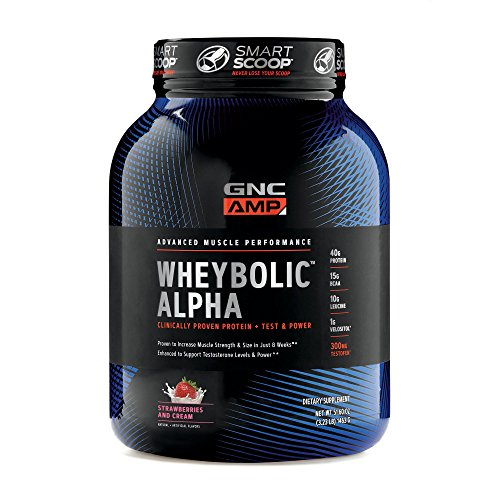 (GNC AMP Wheybolic Alpha Whey Protein Powder, Strawberries and Cream, 22 Servings, Contains 40g Protein and 15g BCAA Per Serving)