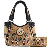 Justin West Tribal Dream Catcher Feather Embroidered Studded CCW Concealed Carry Shoulder Cross Body Handbag Wallet (Tan Tote Handbag & Wallet Set)