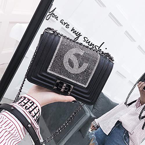 Sac Parfum Sac Mode de Sauvage Sac de marée Sac Noir Femme Petit Petit épaule chaîne Messenger carré WSLMHH qwOpR