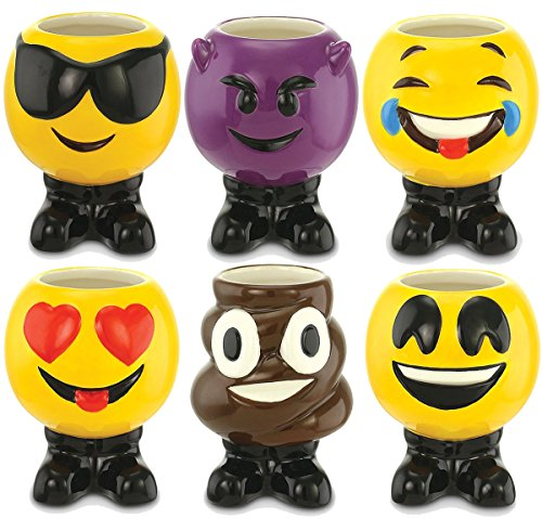 KOVOT Set of 6 Emoji Ceramic Shot Glasses - Each Holds 3 Oun