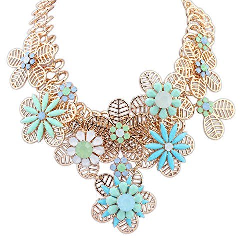 gant Statement Gold Plated Hollow Out Petal Splicing Joker Water Blue Flower Necklace For Womens Girls ()