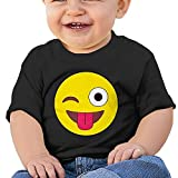 Chengrangst Smiley Emoji Toddler/Infant Short Sleeve Cotton T Shirts Black 18 Months