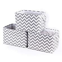 "BAIST Large Cloth Storage Bins Toys Stackable Fabric Storage Basket Box Cube Storage Organizer with Rope Handle for Shelf, Closet, Laundry, Kids, Nursery 3-Pack Gary Wave 15"" x 11"" x 10"""