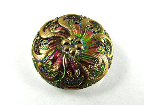 - 1 pc Hand Made Art Czech Glass Button, Size12, 27mm, Green Vitrail-Gold Ornament