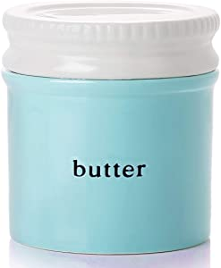 GDCZ Porcelain Butter Dish With Water Line,Ceramics French Butter Keeper Crock With Lid,White/Turquoise