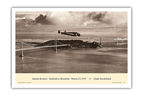 Lockheed Master - Pacifica Island Art Amelia Earhart - Oakland, California to Honolulu, Hawaii - March 17, 1937 - Lockheed Electra 10E - Vintage Aviation Poster by Clyde Sunderland - Master Art Print - 12in x 18in