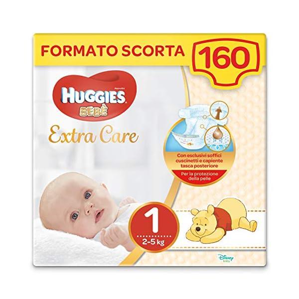 Huggies Extra Care Bebè Taglia 1 (2-5Kg), 4 Confezioni da 40 Pannolini, 3290 Gr 1