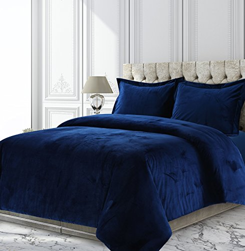 (Tribeca Living VENICEDUVETQUNB Venice Velvet Oversized Solid Duvet Set, Queen, Navy Blue)