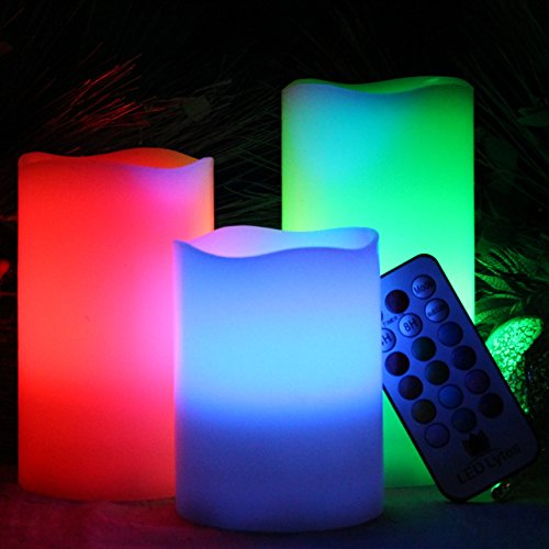 Flameless Candles by LED Lytes, Set of 3 Ivory Wax LED Candles, Multi Color Changing Remote and auto-off Timer for...