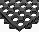 Electriduct Interlocking Rubber Ring Safety Mat - 3x3 FT Anti-Slip 1/2'' Rubber Anti-Fatigue Drainage System