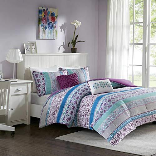 (Kaputar Beautiful Purple Teal Aqua Plum Blue Moroccan Global Bohemian Soft Comforter Set   Model CMFRTRSTS - 612   Queen)