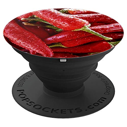 (Pepper Red Chili Chile Chilie Chilli Spicy Hot - PopSockets Grip and Stand for Phones and Tablets)
