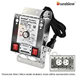Durablow MDT2P Stainless Steel 304 Plug-in 2 Outlets with Dehumidistat Control for Crawl Space/Fresh Air Supply Fan Model