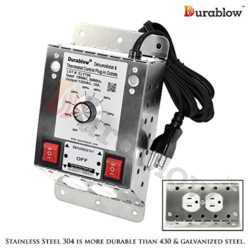 Dehumidistat Control (Durablow MDT2P Stainless Steel 304 Plug-in 2 Outlets with Dehumidistat Control for Crawl Space / Fresh Air Supply Fan Model)