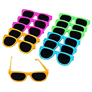 dazzling toys 12 Pairs Of Neon Colored Party Sunglasses | Vintage Party Eyewear,Shades,Sunglasses For Children