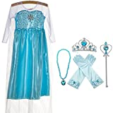 Princess Costume Snow Queen Party Dress With 4 Sets (Gloves - Tiara - Wand - Necklace) - Sky Blue