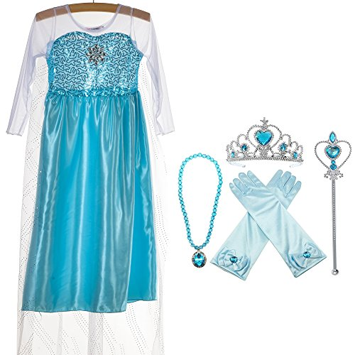 Princess Leia Costumes Toddler (Princess Costume Snow Queen Party Dress With 4 Sets (Gloves, Tiara, Wand, Necklace), Sky Blue)