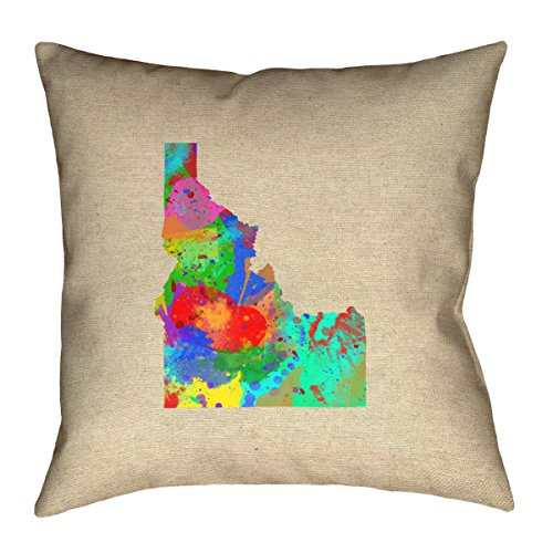 ArtVerse Katelyn Smith 14 x 14 Spun Polyester Double Sided Print with Concealed Zipper /& Insert Massachusetts Watercolor Pillow