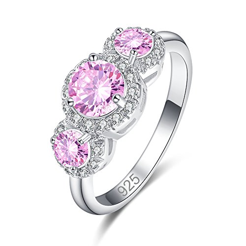 Veunora Ladies' 925 Sterling Silver Created Pink Topaz Filled Promise Gift Ring for Her Size 9