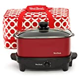 West Bend 84915R Versatility Slow Cooker with Insulated Tote and...