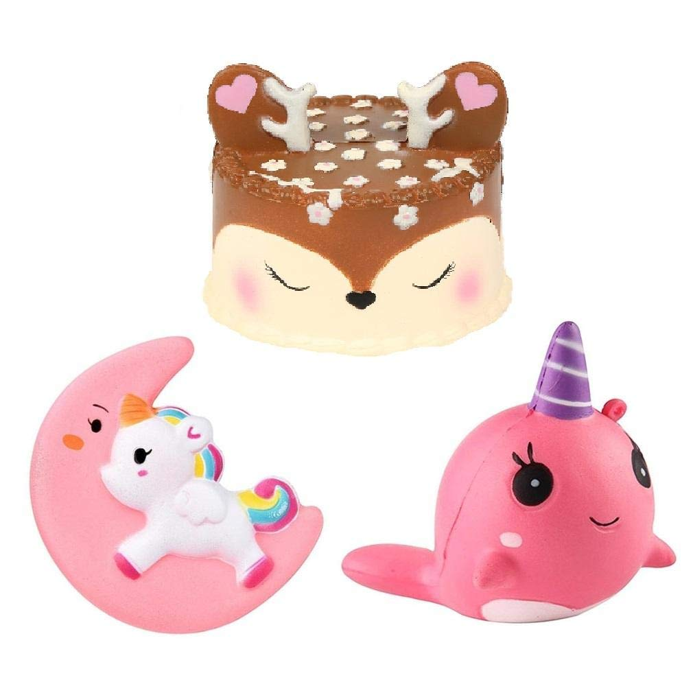 Ouflow 3 Packs Jumbo Squishies Slow Rising Cute Deer Cake,Unicorn Moon,Narwhale Set Cream Scented Squeeze Toy for Stress Relief,Decorative Props Large