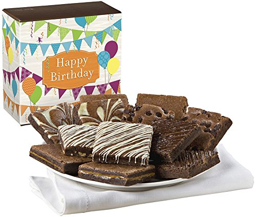 Fairytale Brownies Birthday Nut-Free Dozen Gourmet Food Gift Basket Chocolate Box - 3 Inch Square Full-Size Brownies - 12 Pieces