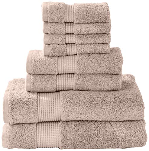 (Manor Ridge Turkish Cotton 700 GSM 8 Piece Set, Super Soft, Heavy Weight & Absorbent 2 Bath, 2 Hand Towels and 4 Washcloths, Taupe)