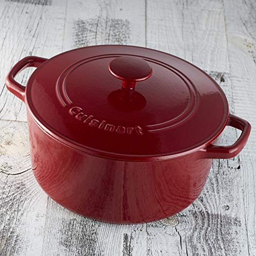 Cuisinart CI650-25CR Chef's Classic Enameled Cast Iron 5-Quart Round Covered Casserole, Cardinal Red