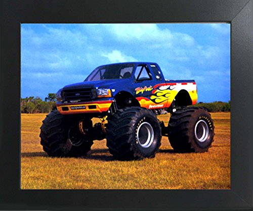 Bigfoot Monster Truck Racing Wall Decor Contemporary Black Framed Picture Art Print