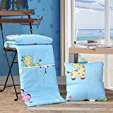 HOMEE Pure Cotton Pillow Quilt Dual-Use Cotton Cartoon on the Cushion is Summer by a Car Office Sofa Afternoon Nap Air-Conditioning,Animal Park,4040Cm