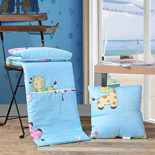 HOMEE Pure Cotton Pillow Quilt Dual-Use Cotton Cartoon on the Cushion is Summer by a Car Office Sofa Afternoon Nap Air-Conditioning,Animal Park,4040Cm by HOMEE