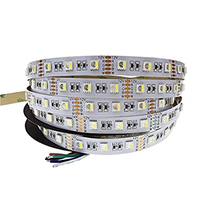 ALITOVE 16.4ft 5050 RGBW Color Changing Flexible LED Strip Light RGB White 4 Colors in 1 LED 5m 300 LEDs Not Waterproof 12V DC for Home Garden Commercial Area Festival Decoration Lighting