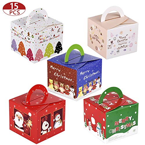15pcs Christmas Gift Boxes Xmas Favor Treat Candy Box for Kid Party Present Decoration