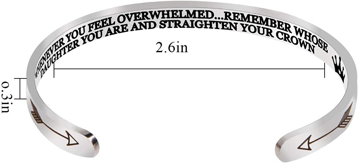 Whenever You Feel Overwhelmed Remember Whose Straighten Your Crown Bracelet for Women Girls 2 Keep Going Bracelet Cuff Stainless Steel for Women