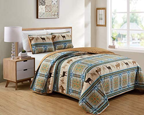 Southwestern Great Outdoors Cabin Lodge Bedspread Quilt Set With Plaid Tribal Patterns Wildlife Deer Buck Elk Pinecone Wildlife Imagery in Brown Turquoise Blue – Deer Pine Trail Full Queen