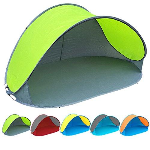 Pop Up Strandmuschel mit Boden UV-Schutz 40 oder 60 - 220 x 120 x 100 - cm in verschiedenen Farben (Grau / Grün UV60)
