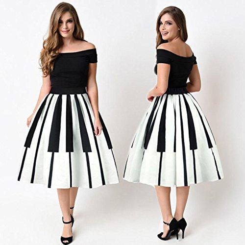 OVERDOSE 2018 Damenrock Petticoat Klaviertasten druckten Rock hohe Taillen dünne Abendkleid Tanzkleid Unterkleid Schwarz tKCwJ