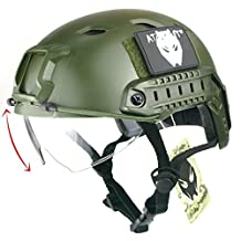 ATAirsoft Breathable Tactical Airsoft Fast PJ Helmet w/ Sliding Goggles OD Green