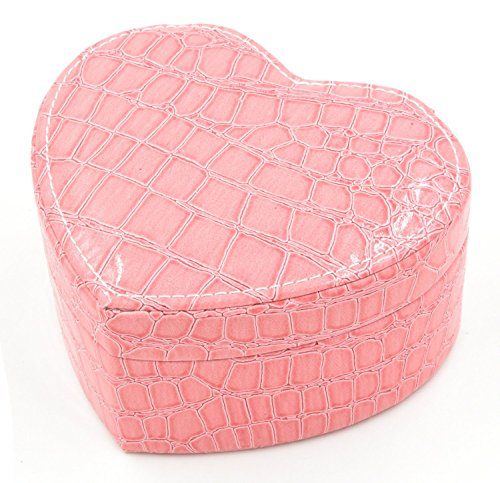 (Soldcool Heart Shape Jewelry Box Display Organizer Holder with Mirror PU Leather Travel Case Storage Box (Pink))