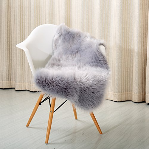 Reafort High Pile Super Soft Faux Sheepskin Faux Fur Rug, Chair Cover, Sofa Cover 20inx36in (20
