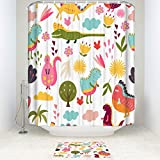Cute Dinosaur Kids 14-piece Bathroom Set Bath Rugs with Fabric Shower Curtain and Decorative Matching Mat/Rings,72'' x 72''