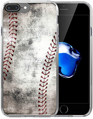 8 Plus Case/7 Plus Case/IWONE Designer Rubber Durable Protective Skin Transparent Cover Compatible with iPhone 7/8 Plus + Creative Vintage Baseball Art Pattern Printing