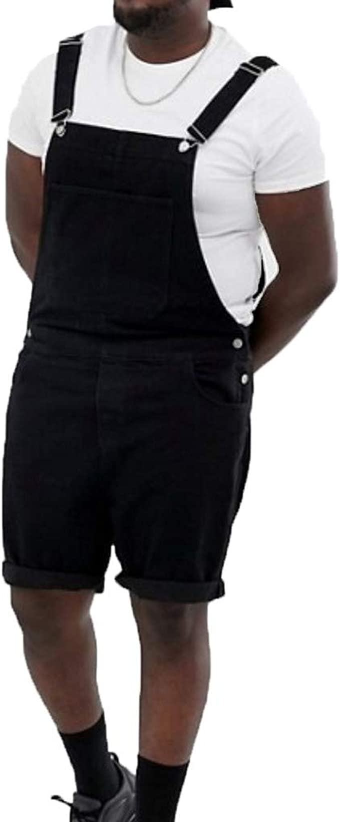 WGNNAA Herren Latzhose Overall Shorts Denim Jumpsuit