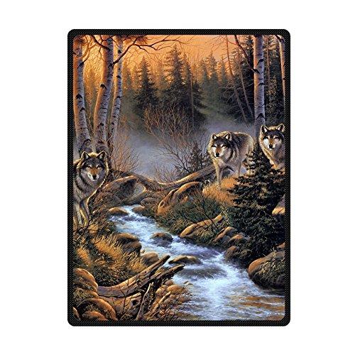 "Custom Real Wolves In Woods Stream Fog Supersoft Throw Fleece Blanket 58""X80"""