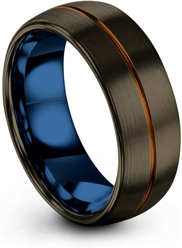 Tungsten Ring Tungsten with Inlay Strong Mens Ring Her Tungsten Wedding Strong Wedding Band Black Blue Tungsten Striped Tungsten Man